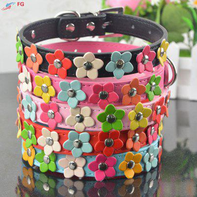 Studded Flower Pattern Leather Puppy Pet Dog Collar Cat Neck Strap Necklace
