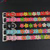 Studded Flower Pattern Leather Puppy Pet Dog Collar Cat Neck Strap Necklace - BLUE