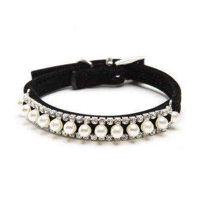 Pearl Necklace Rhinestone Crystal Pet Cat Collar with Safety Elastic BeltDog Collars &amp; Leads<br>Pearl Necklace Rhinestone Crystal Pet Cat Collar with Safety Elastic Belt<br>