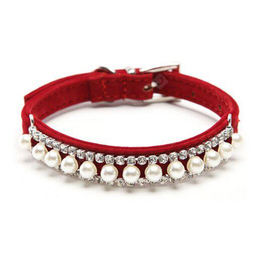 Pearl Necklace Rhinestone Crystal Pet Cat Collar with Safety Elastic Belt