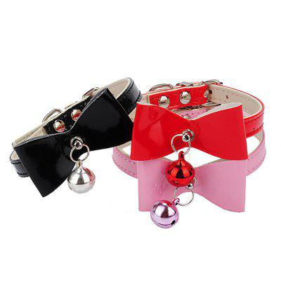 Adjustable PU Leather Bowknot Bell Cat Dog Necklace Puppy Collar Pet Supplies