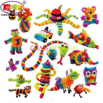 CongMingGu 400pcs Assemble 3D Puzzle DIY Puff Ball Squeezed Ball Creative Thorn Ball Clusters Handmade Educational Birthday Toys