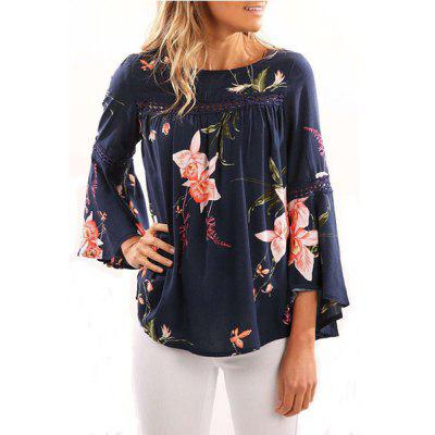 Printed Long Mandarin Sleeve T-shirt