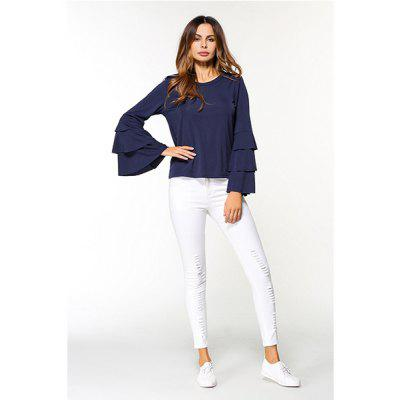 Solid Color Long Mandarin Sleeve T-shirt