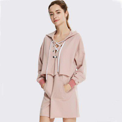 Long Sleeve Drawstring Hoodie Jacket with Deep V Collar
