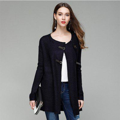 Large Size Solid Color PU Buttons Long Knitted Cardigan SweaterSweaters &amp; Cardigans<br>Large Size Solid Color PU Buttons Long Knitted Cardigan Sweater<br>
