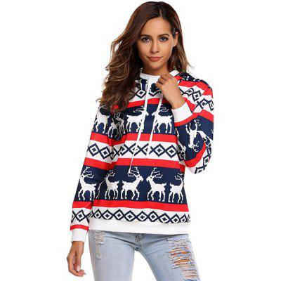 Hooded Drawstring Printing Christmas Deer Sweater