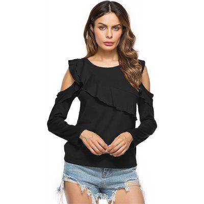 The Round Collar Hollowed-Out Off-the-Shoulder Long Sleeve T-Shirt
