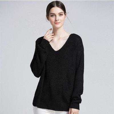 Backless V Neck Knit SweaterSweaters &amp; Cardigans<br>Backless V Neck Knit Sweater<br>