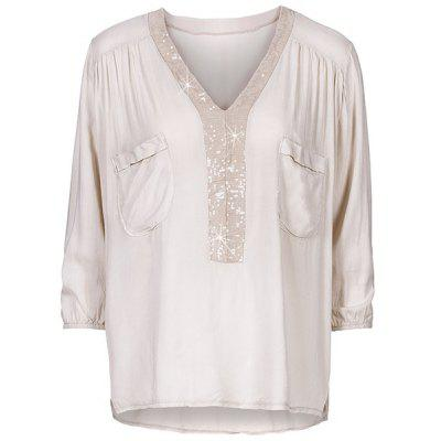 Sequin Long-Sleeved V-Neck Double Pocket Casual T-Shirt
