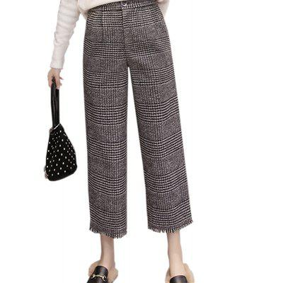 Buy COLORMIX L Vintage High-Waisted Wool Checkered Skirt With A Nine-Point Slacks for $27.88 in GearBest store