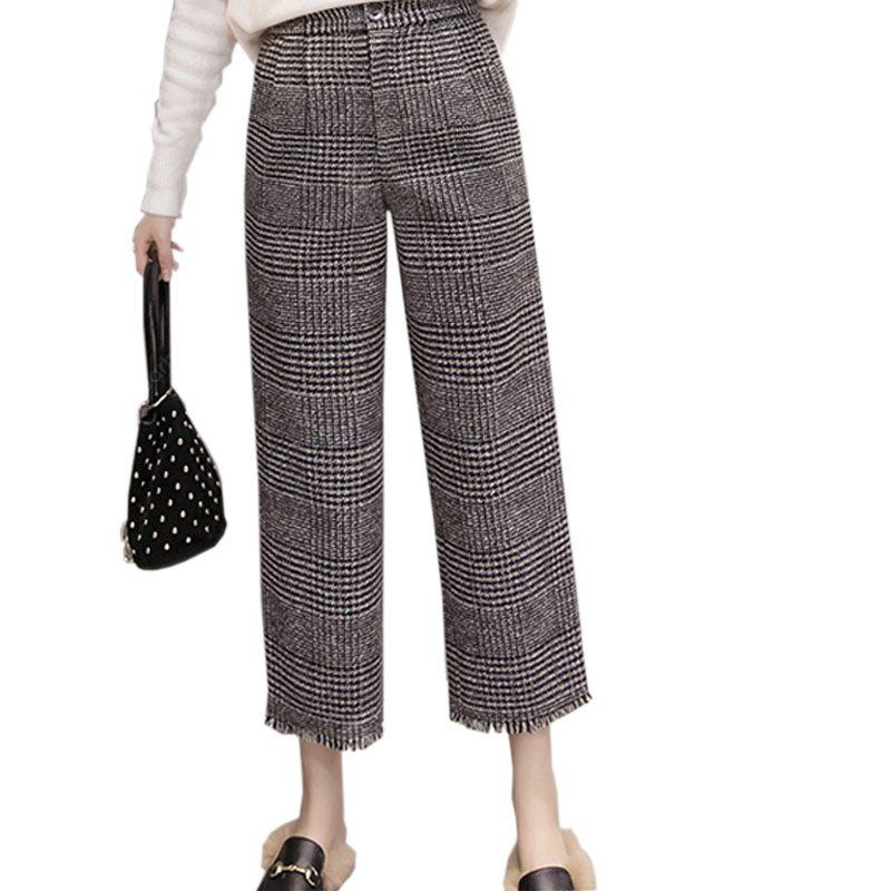 COLORMIX XL Vintage High-Waisted Wool Checkered Skirt With A Nine-Point Slacks