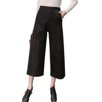 Buy BLACK M Extra Thick Wool And Loose Women's Wide-leg Pants for $24.60 in GearBest store