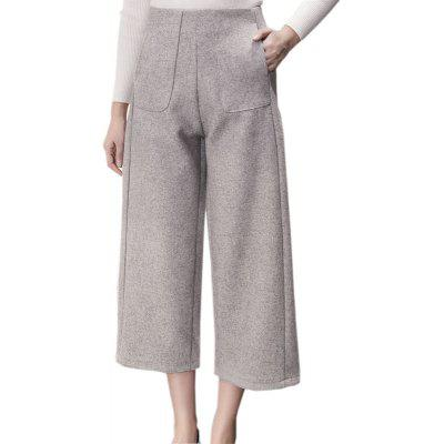 Buy GRAY L Extra Thick Wool And Loose Women's Wide-leg Pants for $24.60 in GearBest store