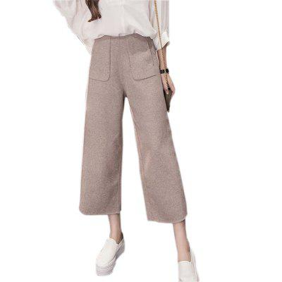 Buy KHAKI L Extra Thick Wool And Loose Women's Wide-leg Pants for $24.60 in GearBest store