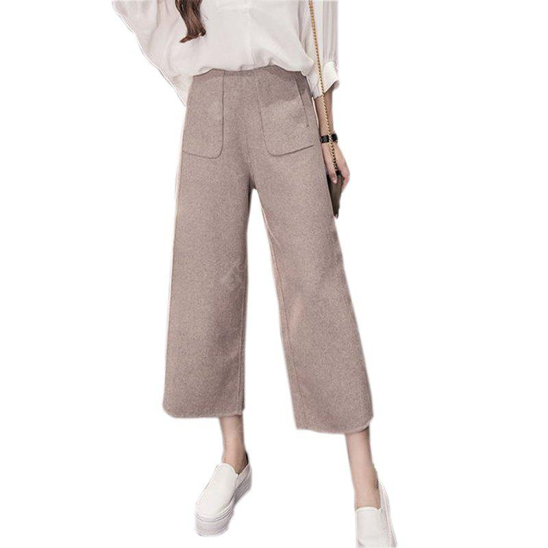 KHAKI XL Extra Thick Wool And Loose Women's Wide-leg Pants