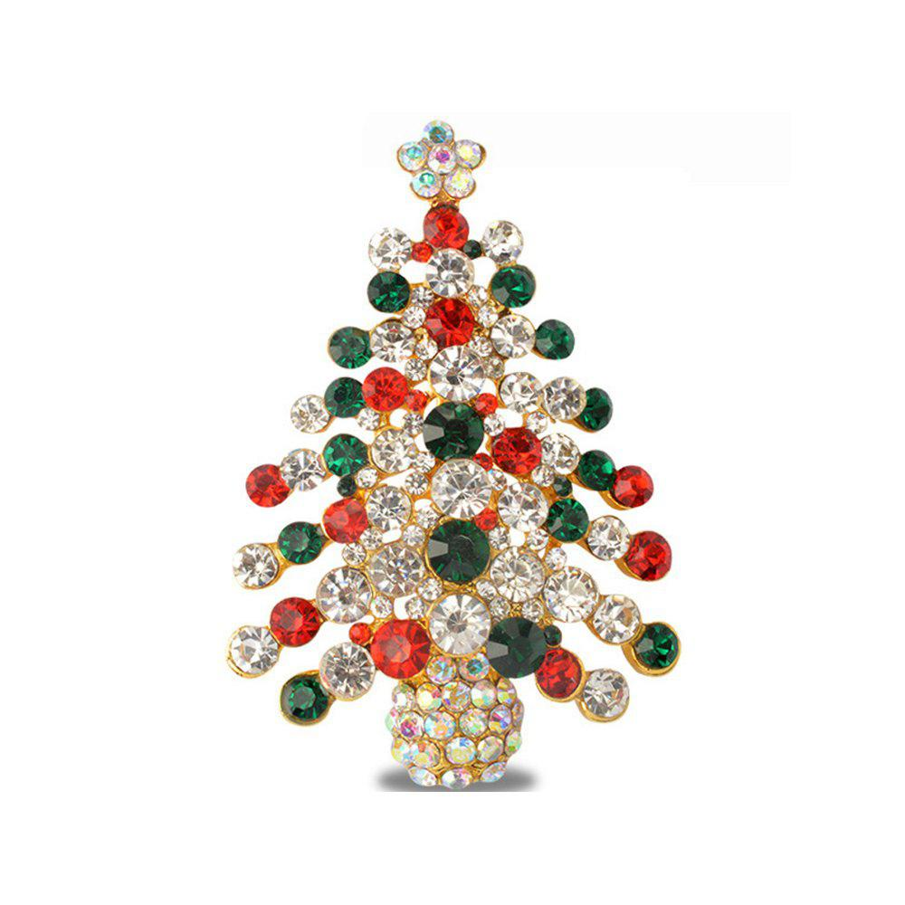 e6c671ef0fa Colorful Christmas Tree Brooches New Beautiful Crystal Gold Color ...