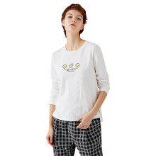 Toyouth Fashion Loose Casual Cotton O Neck Printing Long Sleeves T-shirt