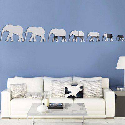 Buy 7 Elephants Acrylic Mirror Stickers 3D Home Wall Decoration, SILVER, Home & Garden, Home Decors, Wall Art, Wall Stickers for $3.67 in GearBest store