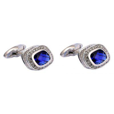 Men's French Shirt Blue Crystal Cufflinks