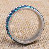 2017 New Fashion Jewelry Birthday Gift Ladies Stainless Steel Three Rows of Diamond Rings - BLUE