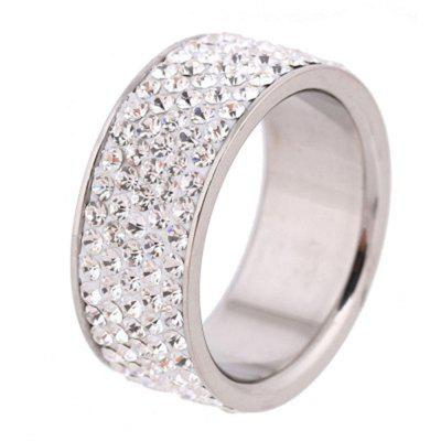 5 Row Diamond Stainless Steel Elegant and Bride Wedding Ring Steel Titanium Ring
