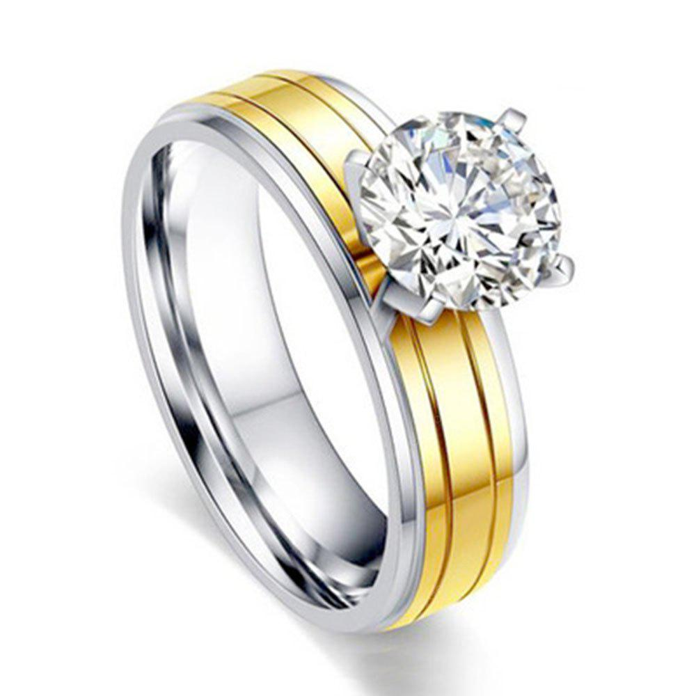 Fashion Ladies Studded Four-prong Jewelry Gold Stainless Titanium Steel Ring