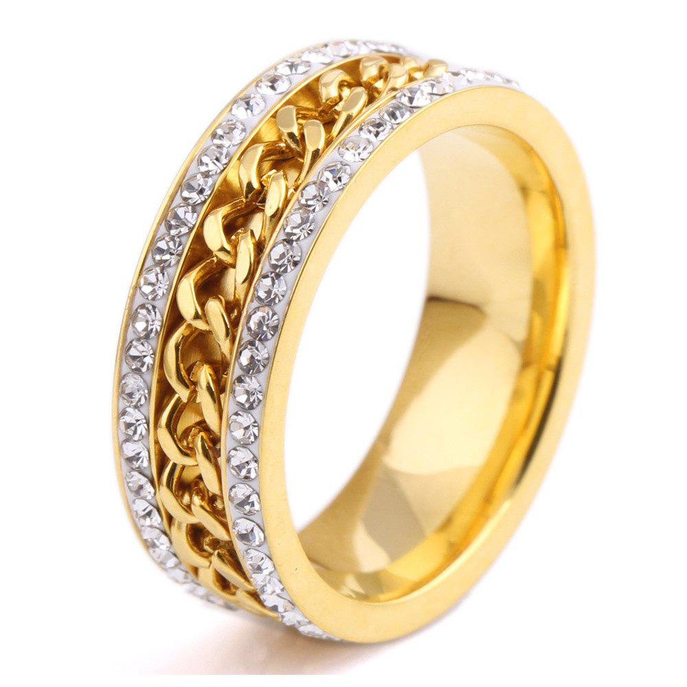 Fashion New Ring Personalized Two Rows of 18K Gold Plated Middle Chain Jewelry