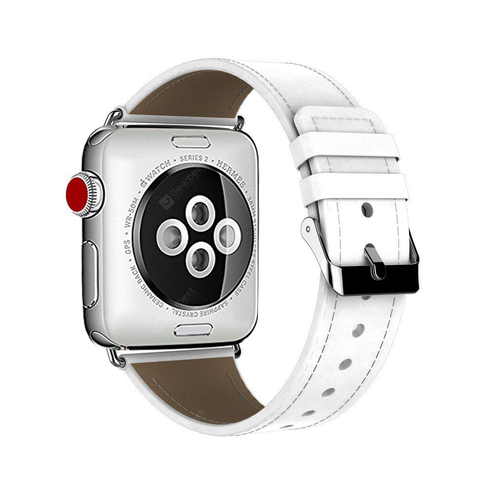38MM Genuine Leather Strap Stainless Metal Buckle for iWatch Series 3 / 2 / 1