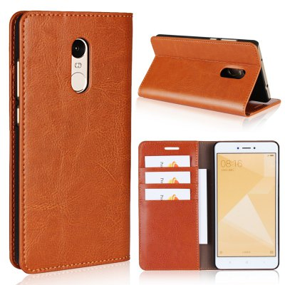 Pure Color Mad Horse Grain Purse Leather Case for Redmi Note 4X