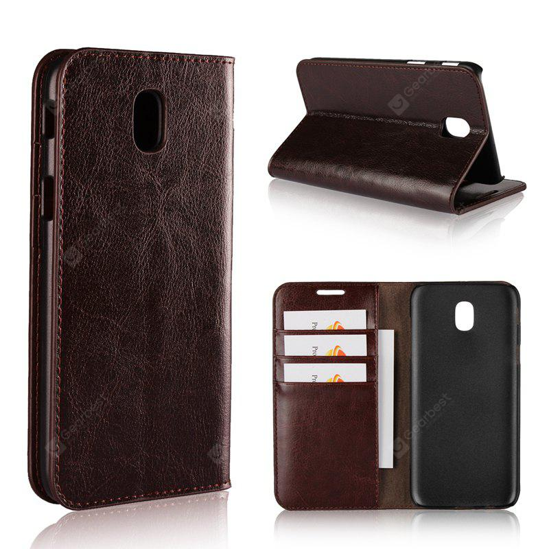 Pure Color Mad Horse Grain Purse Leather Case for Samsung Galaxy J7 2017 European Edition