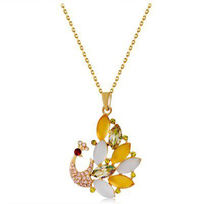 Collier pendentif strass cristal paon