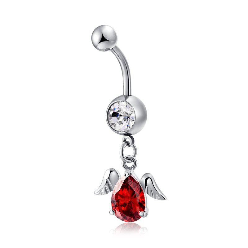 Personalidad Angel Wing Fine Water Drop Shaped Zircon Navel Ring P0169