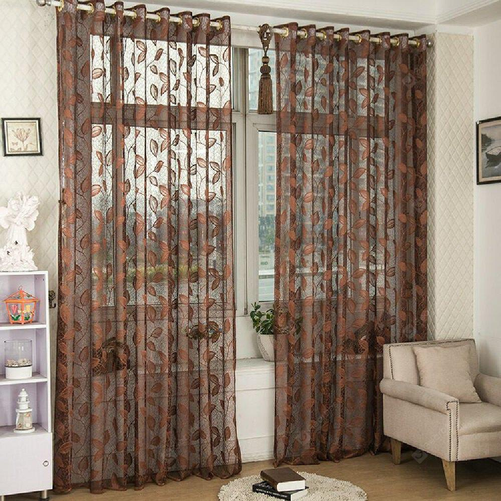 Gold Woven Leaves Hollow Curtain Window Curtains 1pc ESPRESSO