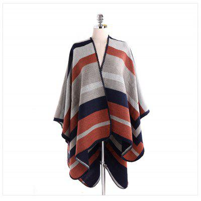 Color Stripe Scarf thick warm cashmere shawl sewing Cloak