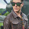 Winter New Mens PU Leather Stand Collar Thick Motorcycle Jackets - BROWN
