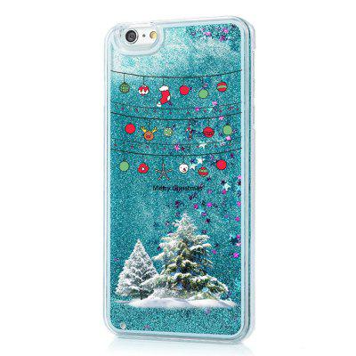 cartoon christmas element liquid sparkle floating luxury protective bumper silicone case for iphone6 6s