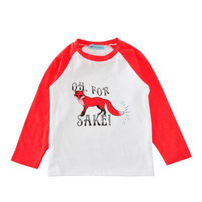 SOSOCOER Children Clothing 2-7T A Long Sleeved T-Shirt Printed with A Fox and A Letter
