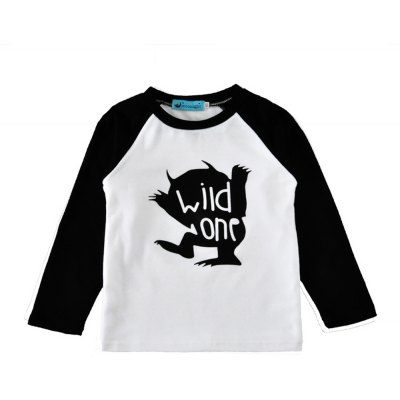 SOSOCOER Children Clothing 2-7T Little Monster and Letter - Printed Long Sleeved T - Shirt