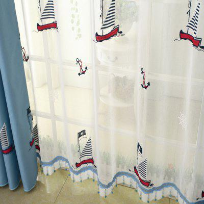 Cartoon embroidered sailing boat curtain/Blue/Children curtain