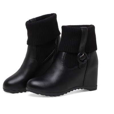Women Shoes Buckle Strap Height Increasing Ankle BootsWomens Boots<br>Women Shoes Buckle Strap Height Increasing Ankle Boots<br><br>Boot Height: Ankle<br>Boot Tube Circumference: 28<br>Boot Tube Height: 17<br>Boot Type: Snow Boots<br>Closure Type: Slip-On<br>Embellishment: Buckle<br>Gender: For Women<br>Heel Height: 7<br>Heel Height Range: Med(1.75-2.75)<br>Heel Type: Increased Internal<br>Insole Material: PU<br>Lining Material: PU<br>Outsole Material: Rubber<br>Package Contents: 1xShoes(pair)<br>Pattern Type: Solid<br>Platform Height: 1<br>Season: Winter<br>Shoe Width: Medium(B/M)<br>Toe Shape: Round Toe<br>Upper Material: PU<br>Weight: 1.5972kg