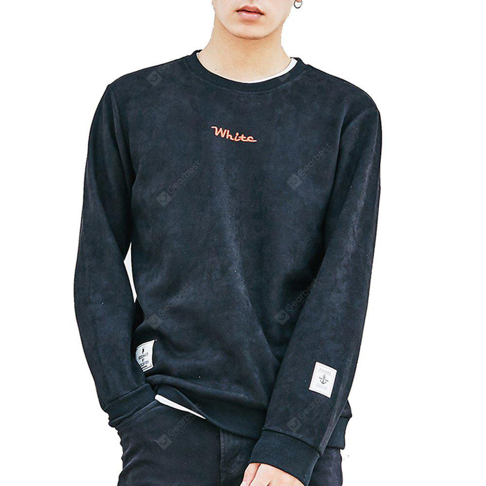 Men's Sweatshirt O Neck Long Sleeve Embroidery Loose Pullover
