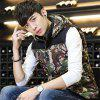 Men's Vest Jacket Camouflage Pattern Sleeveless Hooded Warm Outwear - GREEN