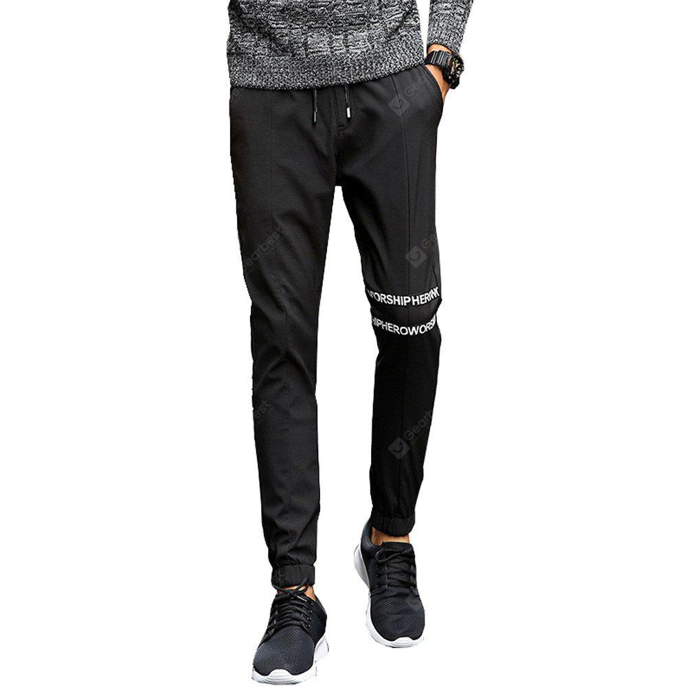 Men's Casual Pants Comfy Solid Color Trendy Drawstring Thickened Pants