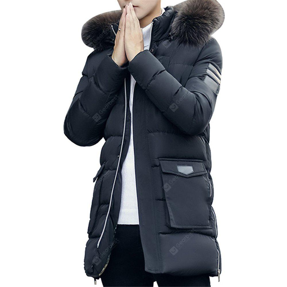 Men's Quilted Coat Fashion Hooded Comfy All Match Long Sleeve Coat