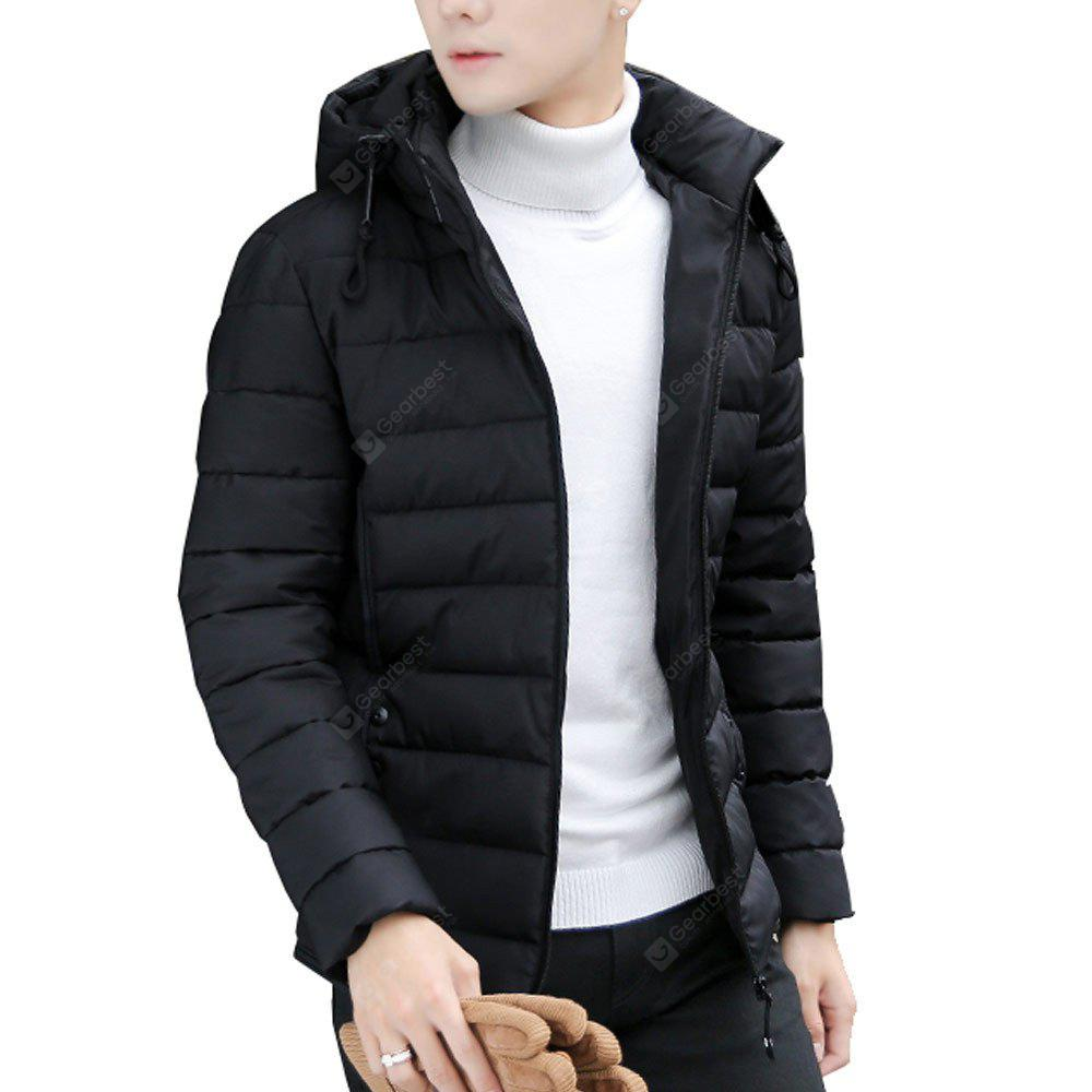 Men's Quilted Coat Solid Color Stand Color Slim Cut Thicken Warmth Long Sleeve Down Coat
