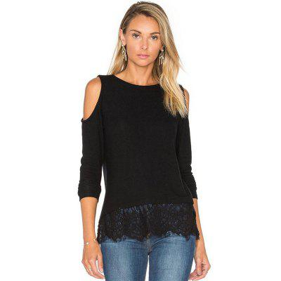 Strapless Lace Stitching Long Sleeved T-Shirt