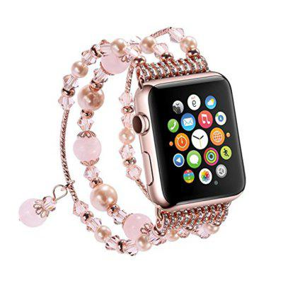 Buy PINK Elastic Stretch Pearl Natural Stone Bracelet Replacement Strap Bands for Apple Watch Series 3 / 2 / 1 All Version 38mm for $17.09 in GearBest store