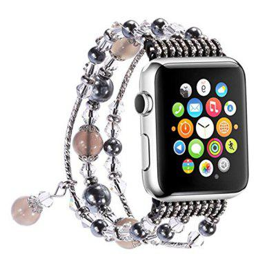 Buy GRAY Elastic Stretch Pearl Natural Stone Bracelet Replacement Strap Bands for Apple Watch Series 3 / 2 / 1 All Version 38mm for $17.09 in GearBest store