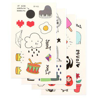 4pcs Temporary Tattoo Sticker Set Waterproof Cute Cartoon All Match AccessoryYMBY411-414
